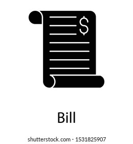 Filled design icon of bill, list of goods sent or provided, with a statement of the sum