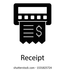 Filled design icon of receipt, list of goods sent or provided, with a statement of the sum