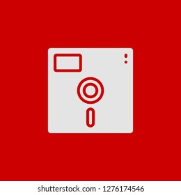 Filled floppy disc super icon. Floppy disc vector illustration for graphic design. Floppy disc symbol.