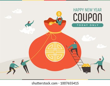 Filled with huge fortune pockets and downsized characters. advertising concept vector illustration flat design
