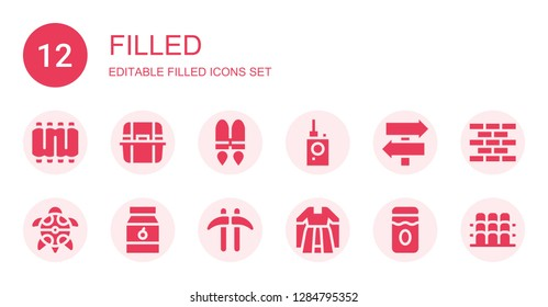 filled icon set. Collection of 12 filled filled icons included Ribs, Litter box, Jetpack, Bug detector, Sign Post, Turtle, Jam, Kusarigama, Gown, Brick wall, Grandstand