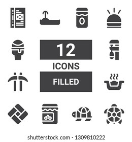 filled icon set. Collection of 12 filled filled icons included Turtle, Jam, Tatami, Litter box, Kusarigama, Clamp, Hooter, Icecream, Binder