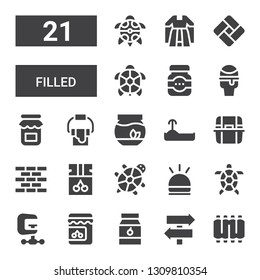filled icon set. Collection of 21 filled filled icons included Ribs, Sign Post, Jam, Clamp, Tortoise, Hooter, Brick wall, Litter box, Turtle, Fishbowl, Paint bucket, Icecream