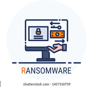 Filled Line Icons Style. Hacker Cyber crime attack Ransomware for web design, ui, ux, mobile web, ads, magazine, book, poster. Vector Pixel Perfect