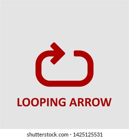 Filled looping arrow icon. Looping arrow vector illustration for graphic design. Looping arrow symbol.