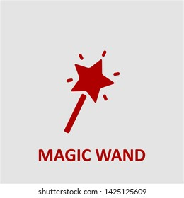 Filled magic wand icon. Magic wand vector illustration for graphic design. Magic wand symbol.