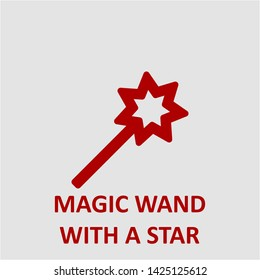 Filled magic wand with a star icon. Magic wand with a star vector illustration for graphic design. Magic wand with a star symbol.