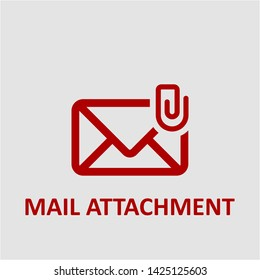 Filled mail attachment icon. Mail attachment vector illustration for graphic design. Mail attachment symbol.