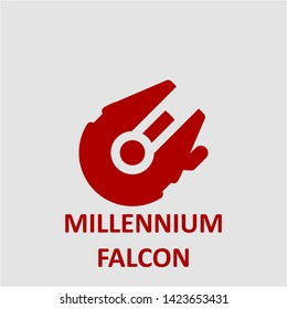Filled millennium falcon icon. Millennium falcon vector illustration for graphic design. Millennium falcon symbol.