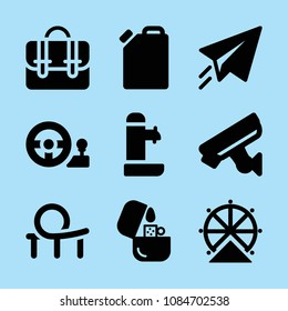 Filled other icon set such as roller coaster, ferris wheel, fountain, briefcase, paper plane, lighter, oil, steering wheel