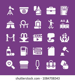 Filled other icon set such as photographer, roller coaster, hammer game, skateboard, circus, briefcase, lotion bottle, kitchen furniture, fountain, flea, notebook