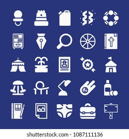 Filled other icon set such as badge, roller coaster, tent, amusement park, ornaments, juggle, circus, search, lotion bottle, fountain pen head, fountain, meteorite, briefcase