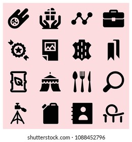 Filled other icon set such as photographer, badge, many awards, restaurant cutlery, roller coaster, circus, briefcase, search, meteorite, agenda, skin, poster, fuel drum, oil
