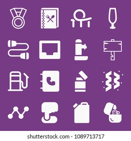 Filled other icon set such as award medal, cookbook, roller coaster, ornaments, fountain, agenda, empty inbox, empty glass, halloween wood empty signal, cord, lighter, fuel