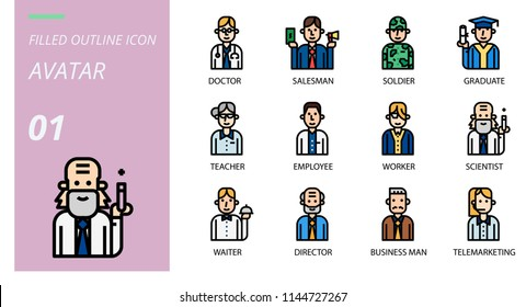 filled outline icon pack . Icons for avatars,doctor, saleman, solder, graduate, teacher, employee, worker, scientist, waiter, director, business man telemrketing.