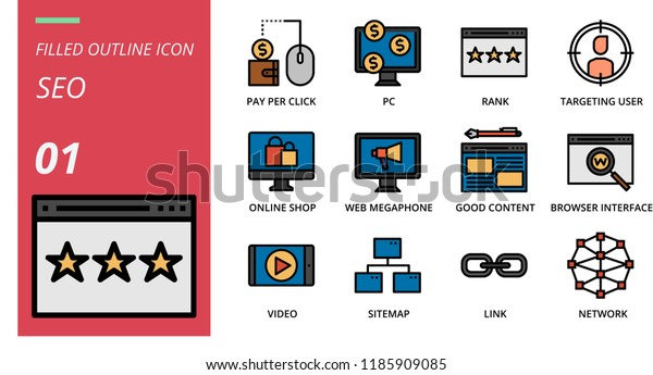 Filled Outline Style Icon Pack Seo Stock Vector (Royalty