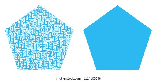 Filled pentagon collage icon of zero and null digits in different sizes. Vector digit symbols are arranged into filled pentagon composition design concept.