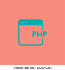 Filled php icon. Php vector illustration for graphic design. Php symbol.