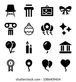 Filled set of 16 decoration icons such as balloon, balloons, column, christmas ribbon, shines, two burning candles, chair, christmas bauble, award badge, picture