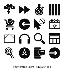 Filled set of 16 interface icons such as headphones silhouette, sms, magnifier tool, increase zoom hand drawn symbol, login, fast forward, layout, stopwatch, check