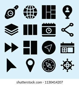 Filled set of 16 interface icons such as stacked files, placeholder tool, placeholder, fast forward, share hand drawn symbol, layout, schedule, calendar, navigation, compass
