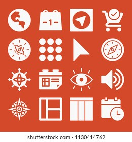 Filled set of 16 interface icons such as audio volume, menu, layout, eye, check, calendar, compass, cursor, gps, global planetary sphere with continent