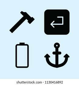 Filled set of 4 tool icons such as hammer silhouette, enter, anchor