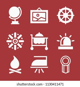 Filled set of 9 other icons such as siren light, award badge, globe, helm, iron, room service, picture