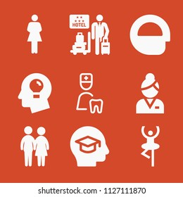 Filled set of 9 people icons such as dentist, couple silhouette, women silhouette, dancer, hotel, education, mind, idea