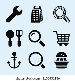 Filled set of 9 tool icons such as squeezer, kitchen grater cutting tool, wrench silhouette, magnifier, search with magnifier sketch, magnifier tool, carts, anchor