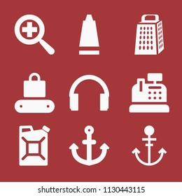 Filled set of 9 tool icons such as toothpaste, kitchen grater cutting tool, headphones silhouette, zoom, supermarket, cashier, anchor