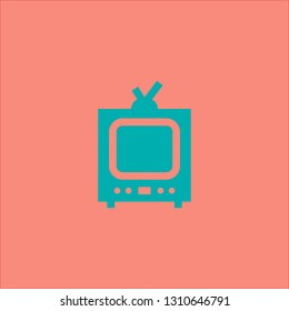 Filled television icon. Television vector illustration for graphic design. Television symbol.