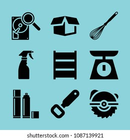 Filled tool icon set such as cleaning spray bottle, bottle opener, spray bottles, delivery package opened, scale, whisk kitchen tool, shelves, saw