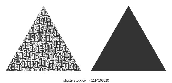 Filled triangle composition icon of zero and null digits in randomized sizes. Vector digital symbols are arranged into filled triangle collage design concept.