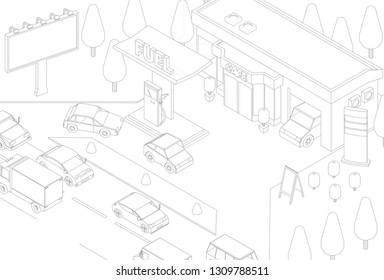 Filling station banner. Refilling fuel, road shop, repair service. Petroleum gas station and cars gasoline. Gray lines outline contour style. Vector isometric view.