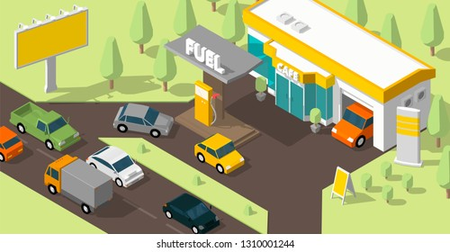 Filling station banner. Refilling fuel, road shop, repair service. Petroleum gas station and cars. Petrol tank, gasoline. Colorful vector isometric view.