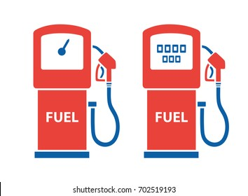 Filling station gas fuel pump icons