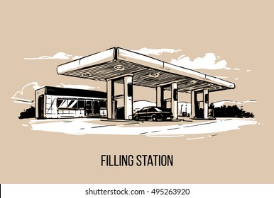 Filling station. Hand drawn illustration