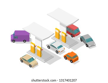 Filling station. Refilling fuel cars. Motorway road service. Petroleum gas station. Petrol tank, gasoline. Colorful vector isometric view.