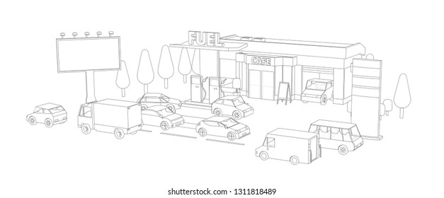 Filling station. Refilling fuel, motorway road shop, repair service. Petroleum gas station and cars. Petrol tank, gasoline. Gray lines outline contour style.