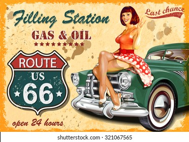 Filling station retro banner