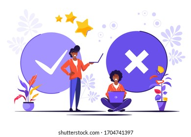 Filling Test in Customer Survey Form. Vector illustration for web banner, infographics, mobile. Customer Experiences and Satisfaction Concept. Woman and Man putting Check Mark.