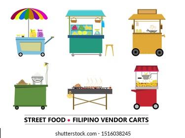Fillipino Common Vendor Cart or stall set part 1. Editable Clip Art.
