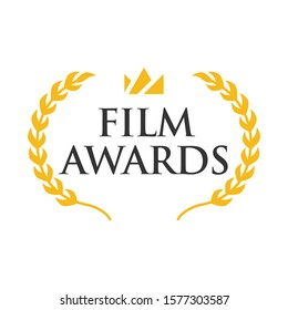Film Award for the best film in the form of logo with laurel branch. Movie Theater, Cinematic Award, Movie Premiere, Flat vector cartoon illustration, Objects isolated on white background