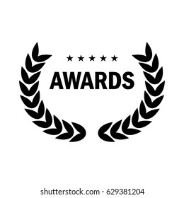 Film Award for the best film in the form of logo with laurel branch. Movie Theater, Cinematic Award, Movie Premiere. Flat vector cartoon illustration. Objects isolated on white background.