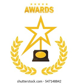 Film Award for the best film in the form of stars. Movie Theater, Cinematic Award, Movie Premiere. Flat vector cartoon illustration. Objects isolated on a white background.
