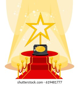 Film Award for the best film in the form of stars on luxurious catwalk with red carpet. Flat vector cartoon illustration. Objects isolated on a white background.