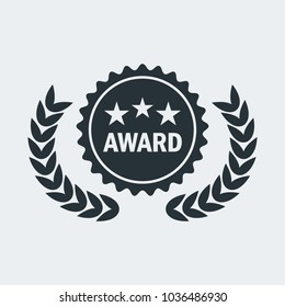 Film Award for best film. Movie Theater, Cinematic Award, Movie Premiere. Flat vector cartoon illustration. Objects isolated on a white background.