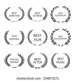 Film Awards, award wreaths on black background vector