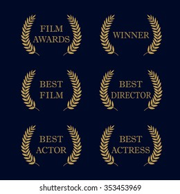 Film Awards and best nominee gold award wreaths on dark background. Film awards logo. Best award vector, award logo, winner logo, film festival nominee. Isolated vintage retro elegant abstract emblem.